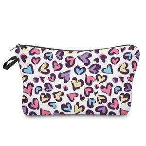 حقيبة مستحضرات التجميل ليوبارد الطباعة الرقمية ماكياج حقيبة السيدات تخزين حقيبة سفر أزياء سفر محافظ اليد سستة حقيبة يد e120407