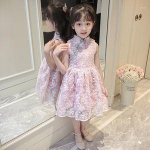 Girl Cheongsam summer lace qipao style sleeveless dress Size 3T-11T1