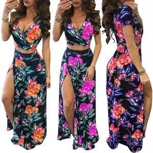 Women Summer Floral High Slit Long Dress Printed Maxi Beach Dress Female Crop Top Two Piece Set Sundress Vestidos
