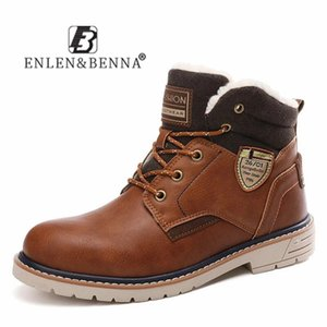 Leather Winter Mens Boots Lace Up Casual Boots Sneakers Brown Plush Snow Ankle Boots Men Waterproof Warm Fur Comfort Motorcycle 201125