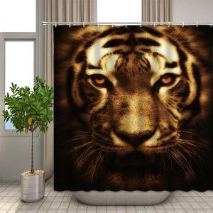 Rideau de baignoire 3D Impression Tiger Cheval Rideaux de douche 180 * 200cm Rideau de salle de bain imperméable à la maison lavable tissu avec crochets