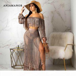 ANJAMANOR Summer 2 Piece Set Women Crochet Tassel Crop Top Maxi Skirt Plus Size Sexy Clothing Boho Beach Outfit 2019 D43-AF33 T200623