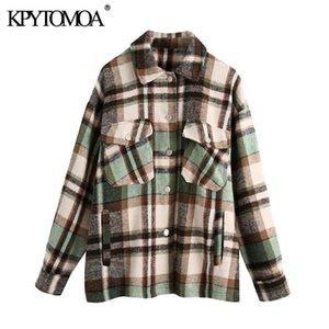 KPYTOMOA Kadınlar Moda Boy Ekose Ceket Kaban Vintage Uzun Kollu Cepler Kadın Giyim Şık 201023 Tops