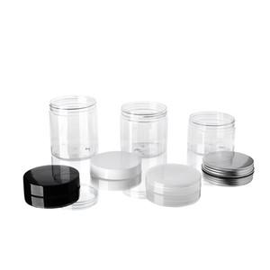 60 ملليلتر البلاستيك الجرار شفافة الحيوانات الأليفة تخزين البلاستيك صناديق زجاجة جولة مع أغطية الألومنيوم فارغة حاوية جرة مستحضرات التجميل DHB3929