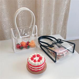 new designer handbag fashion transparent casual handbag wild soft leather stitching jelly bag small fresh lady handbag