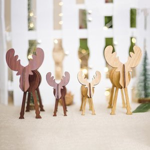 Christmas Ornaments Christmas Elk Decorations Creative Wood Handicraft Xmas Ornaments Party Supplies Merry Christmas New Year Gif Wholesale