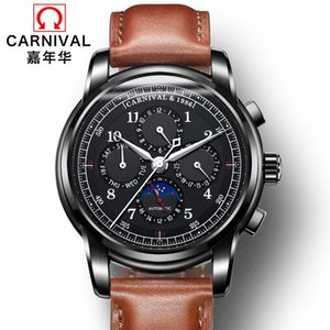 CARNIVAL Fashion Mens Watches Top Multifunction Automatic Watch Men Moon Phase Calendar Mechanical Watch Waterproof