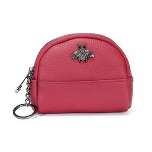 Hot Sale New Genuine leather bee double zipper women designer zero wallets lady fashion cow leather key coin purses female popular clutchs