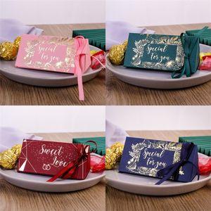 Matrimonio celebrazione caramelle scatola triangoli cioccolatini regalo confezione regalo regali placcati oro wrap nastro di seta vendita calda 0 33cy m2