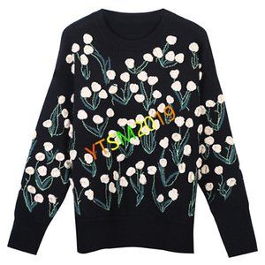 Ladies Flower embroidery print sweater Autumn Winter O-neck pullover outerwear New simple long sleeve knit shirt