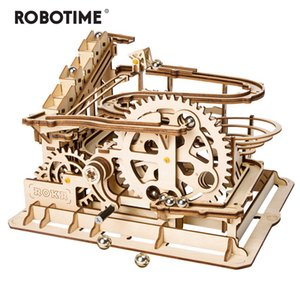Robotime Rokr 4 Kinds Marble Run DIY Waterwheel Wooden Model Building Block Kits Assembly Toy Gift for Children Adult Dropship Z1124