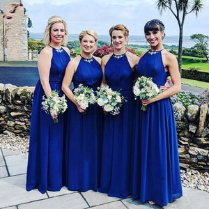 Royal Blue Chiffon Applique Bridesmaid Dresses Halter Top Open Back Pleated Beach Wedding Dress As Guest Bridal Party Dress Cheap P156