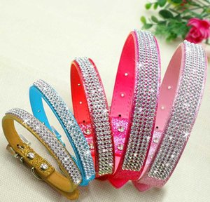 Bling Diamante Rhinestone Pu Leather Cat Dog Collars Pink For Small Medium Dogs Chihuahua Yorkie 5 Colors qylwUB jjxh