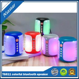 TG611 colorful light wireless mini bluetooth speaker outdoor sport Battery capacity Charging input 5V 500MA portable column speaker size52mm