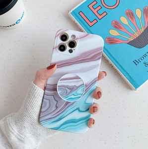 Symphony marble pattern folding stand is suitable for iPhone 12 pro max  12Pro fine-hole silicone phone case goophone