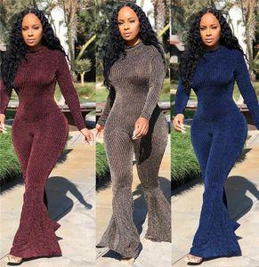 Seksi Skinny Bayan Tulumlar Moda Ince Topuz Renk Uzun Kollu Tasarımcı Ekip Boyun Çan Dipleri Bayanlar Romper