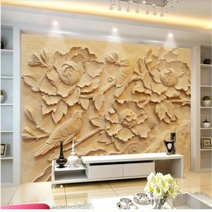 European 3d stereoscopic wallpaper flower wallpapers relief TV background wall resin flower relief decorative painting