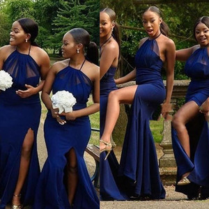 Sexy South Africa Mermaid Bridesmaid Dresses Halter Satin Side Split Navy Maid Of Honor Wedding Guest Dress 2021 Plus Size Country Bride