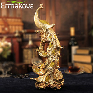 "ERMAKOVA 42cm(16.5"")Height Resin Phoenix Figurine Pure Golden Bird of Wonder Statue Animal Sculpture Ornament Home Office Decor T200703"