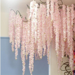 180CM White Simulation Hydrangea Flower Artificial Silk Wisteria Vine for Wedding Garden Decoration 10pcs lot Free Shipping