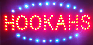 LED Hookahs Sign Plastic PVC frame Display size 10cm*19cm inch