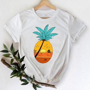 T shirts for Women 2021 Pineapple Beach Happy Time 90s Cute Spring Summer Top Lady Graphic Tshirt Female Tee T Shirt