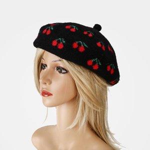 Fashion Wool Bool Hat Women Cherry Pattern Newsboy Hat Casual Artist Painter Cap Otoño Invierno Streetwear Boinas Para Mujer