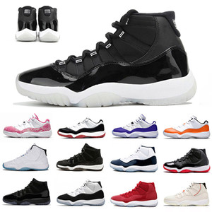 Nike Air Jordan 11 25th Anniversary Air Retro 11 Mens Basketball Shoes 72-10 Bred Low Concord UNC 11s Cap and Gown Legend Blue Space Jam 남성 여성 스포츠 디자이너 스니커즈