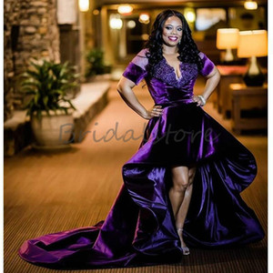 Plus Size Black Girls Prom Dresses With Short Sleeves Sexy V Neck High Low Beaded African Formal Evening Dresses Velvet Celerbity Party Wear