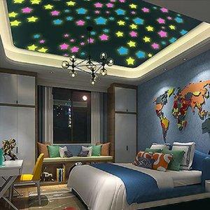 Pegatinas fluorescentes luminosas Wall Moon Luna 3D Niños Star Stickers Dormitorio Tridimensional Super Pequeño Decoraciones Autoadhesivo Small Star