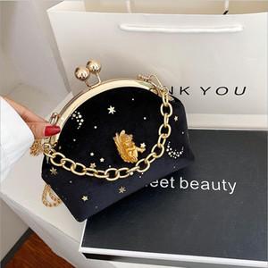 2020 retro Baroque Angel relief Lolita girl velvet Messenger Handbag