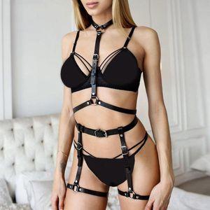 Punk Rock Strap Leather Harness Women Sexy Body Cage Belts Lingerie Underwear 2 Piece Set Garter Faux Leather Suspenders Bondage 201120