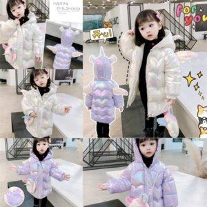 LLp Kids Designer Clothes Fur Collar Winter child Children jacket Down Coats Floral Toddler Girl Coat Cotton down Zipper Jacket Hooded