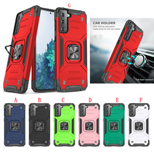 Car Mount Magnetic Armor Hard Case For Samsung Galaxy S30 PLUS S30 Ultra S20 FE A01 Core PC Hybrid Ring Bracket Stand Shockproof Phone Cover