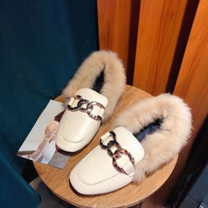 Aike Asia Winter New Ladies Coniglio Pelliccia coniglio Plus Velvet Metal Fibbia Calda Scarpe caldi PU Face Women's Boots Y200115