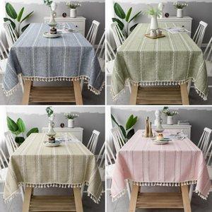 Fashion sale Hollow-out solid color long stripe jacquard tablecloth Christmas table cloth tablecloth end table mat cotton linen