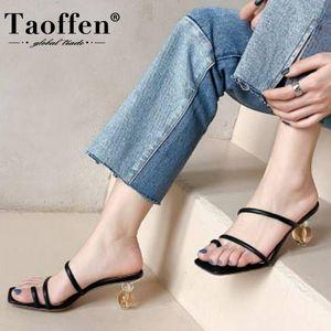 Taoffen Natural Leather Shoes Women High Heels Sandals Strange Style Heels Ladies Shoes Slip On Female Footwear Size 34-40