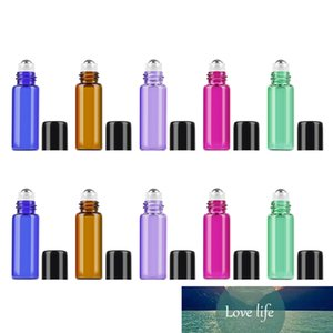 Drop Ship 5ml 10pcs Roller Glass Essential Oil Bottle Stainless Steel Ball Black Cover Travel Perfume Bottle Empty Container