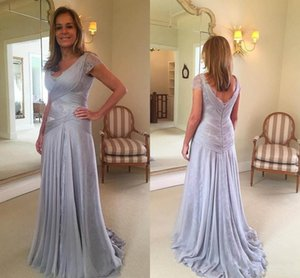 2019 Cheap Mother of the Bride Dresses Silver V Neck Short Sleeves Chiffon Lace Sheath Wedding Guest Dress Plus Size Prom Evening Gowns
