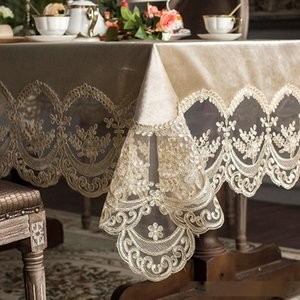 High grade European lace table tablecloth fabric rectangular dining table cover champagne coffee Nordic dining table chair cover T200306