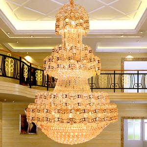 Big Long Modern Golden Crystal Chandelier LED Light Luxury American Crystal Chandeliers Lights Fixture Hotel Home Indoor Lighting Dia100cm