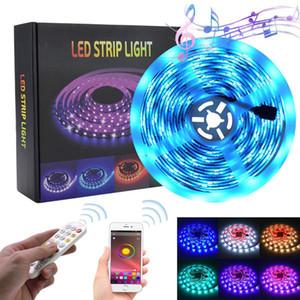 새로운 기능 5M LED RGB 스트립 테이프 빛 150 LED 방수 음악 동기화 색상 변경 블루투스 컨트롤러 24Key 원격 제어 장식