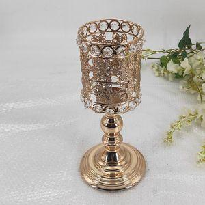 Gold Crystal Candle Holder Wedding Decoration Table Centerpieces Candelabra Birthday Party Flower Vase Holder Home Decor