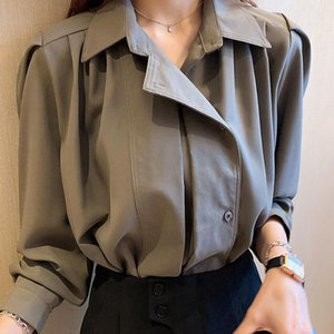 Vintage Turn-down Collar Women Blouse Shirts Spring irregular Female Blouse Tops Office Ladies Shirts for Women Clothes
