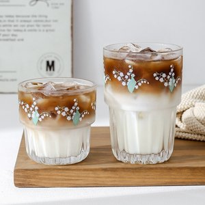Acqua stile nordico Creativo Lily of Valley Patten Glass Coffee Milk Juice Whisky Cup 250ml 350ml Q1215