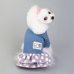 Moda Pequeno Pet Dog Vestidos Bonito Filhote de Teddy Schnauzer Schnauzer Vestido de Algodão Estilo Clássico Ponto Impresso Pet Princesa Vestidos