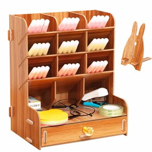 Wooden Desk Organizer Multi-Functional DIY Pen pencil Holder Box Desktop Stationary Home Office Supply Storage Rack Z1123