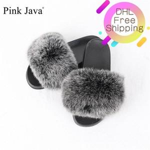 Pink Java New Arriva Summer Mujeres Zapatos de Piel Real Slipper Girl Luxury Indoor Diapositivas Pisos Fluffy Big Fox Sandals al Por Mayor Q1125