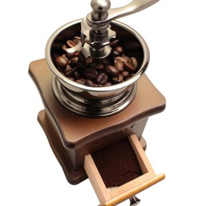 Classical Wooden Mini Coffee Grinder Manual Stainless Steel Retro Coffee Spice Mill With High-quality Porcelain Movement Y1128