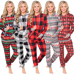 Women S Clothing 2 Piece Set Winter Christmas Check Printed Hooded Drawstring Homewear Large Pocket Sweater Pants Set Loungewear BG